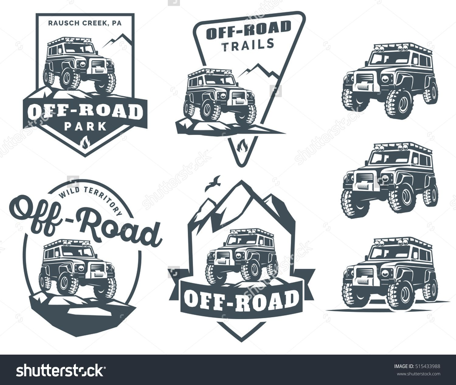 Set Of Off Road Suv Car Monochrome Logo Emblems And Badges
