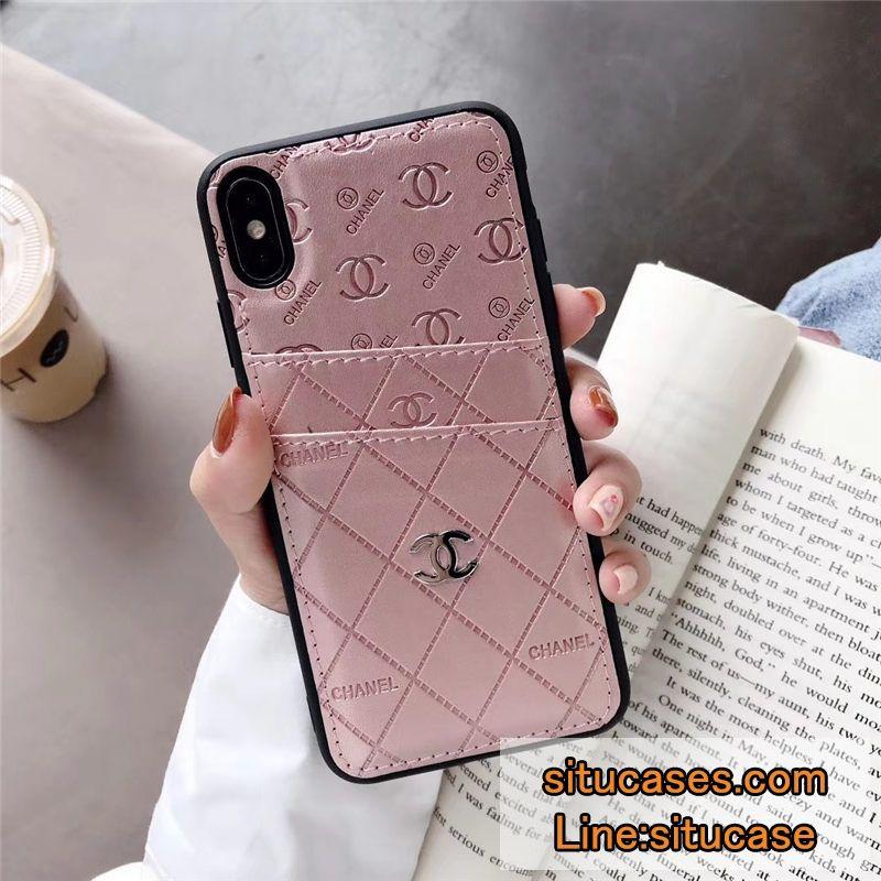 シャネル パロディ Iphone11 ケース 背面ポケット シルバーココマーク Chanel Iphonexi 携帯ケース ピンク 携帯 ケース かわいい電話ケース Chanel Iphoneケース