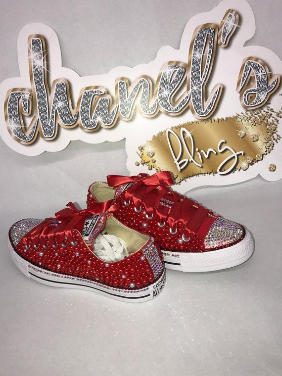 8dbae22bf58fd KIDS Red/White Bling All Star Chuck Taylors Sneakers Low-Top in 2019 ...
