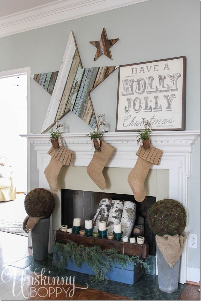Christmas mantel decor Reclaimed wood stars vintage