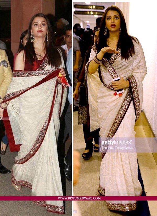 66138ecbf8139 Buy Off White Colour Saree in Aishwarya Rai Bachan Style Online at  begumriwaaz.com