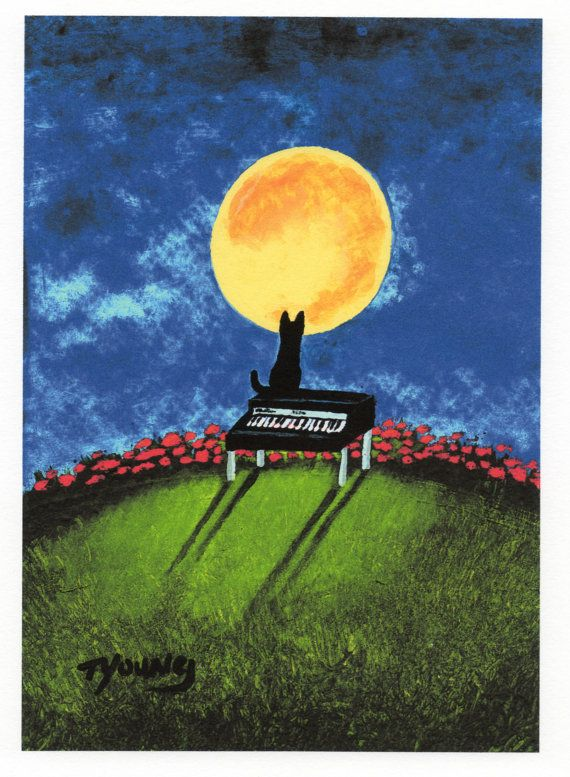 Black CAT Folk art print by Todd Young Piano Cat