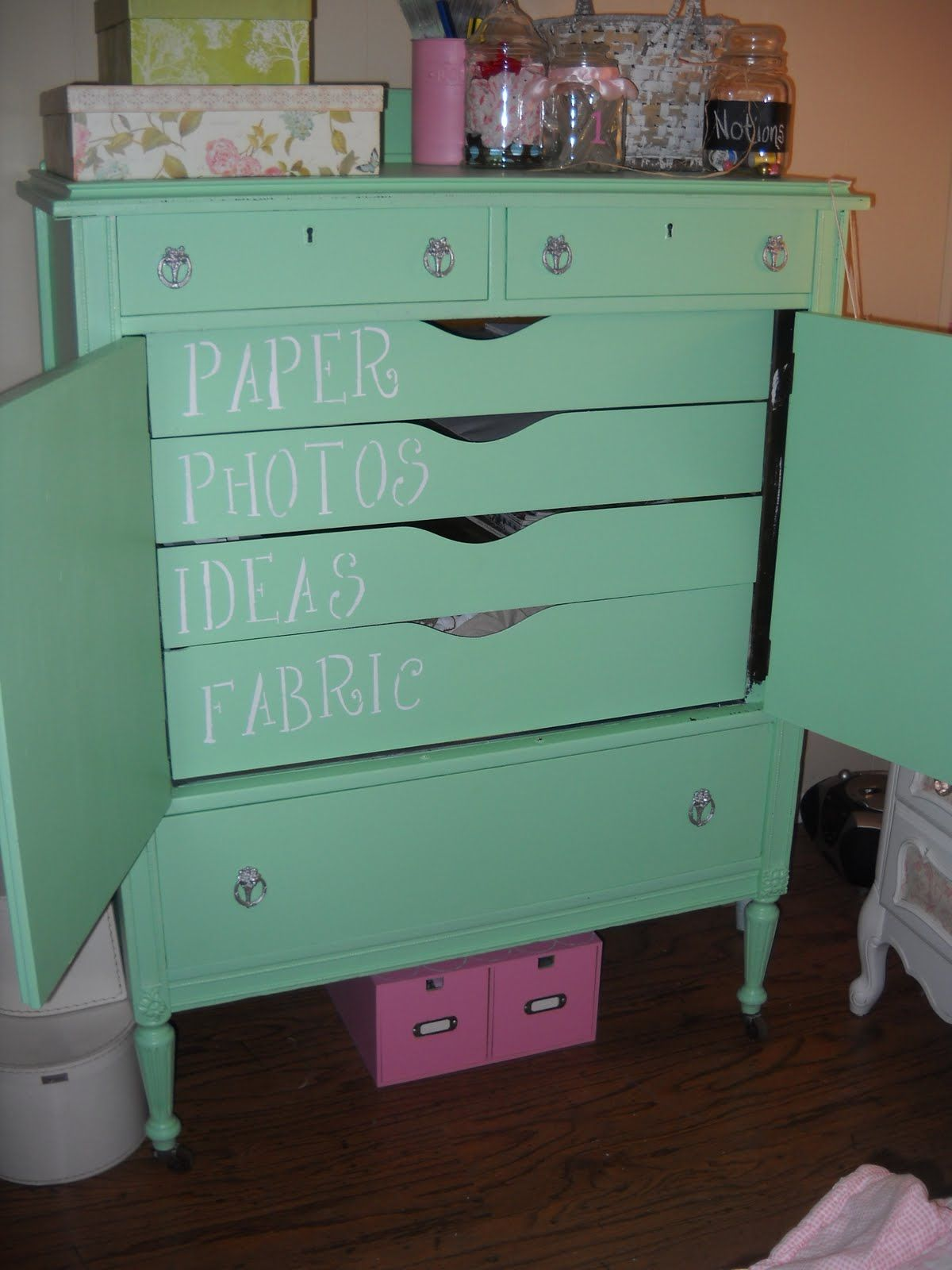 Inside of this craft Armoire, could use the stenciling item names for other things... ex. finding an older dresser to use for crafts.