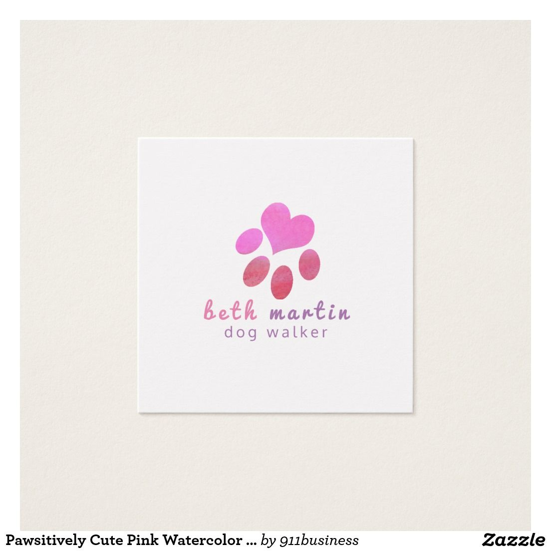 Pawsitively Cute Pink Watercolor Animal PETS Paw custom business ...