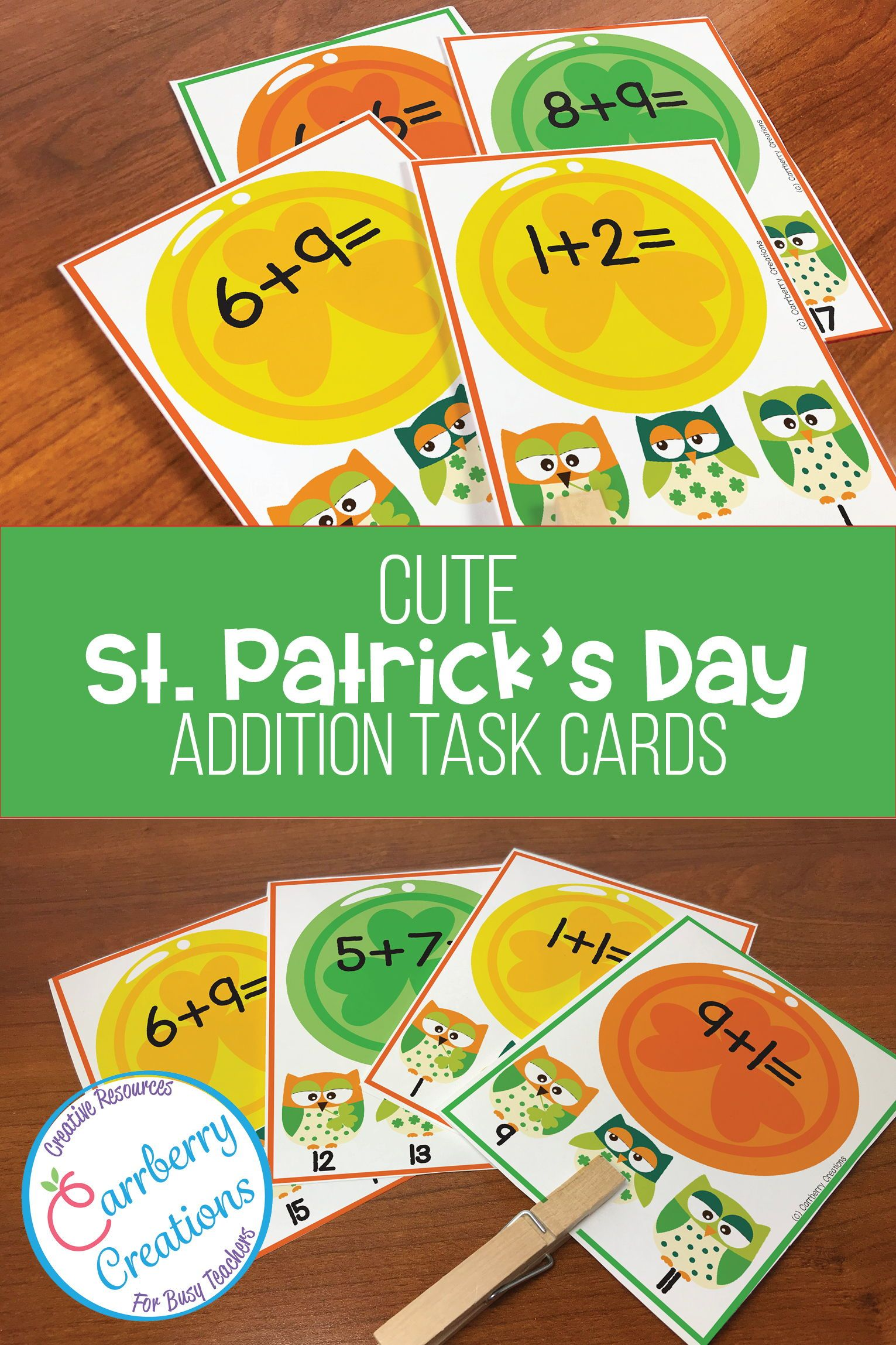 St Patrick S Day Addition Interactive Task Cards Center In