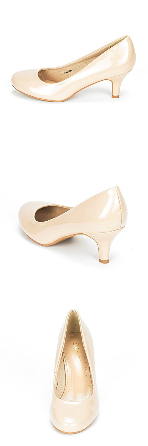 DREAM PAIRS LUVLY Womenu0027s Bridal Wedding Party Low Heel Pump Shoes  Nude Patent Size 12