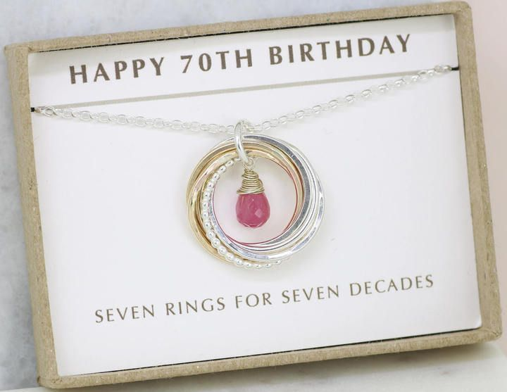 Etsy 70th Birthday Gift Pink Sapphire Necklace September