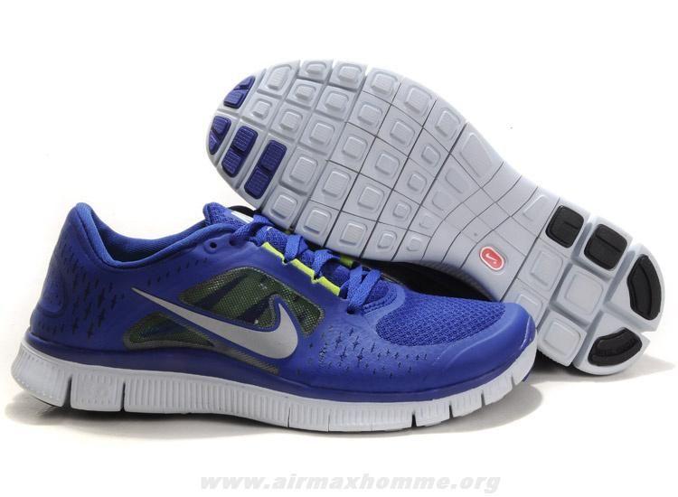 Nouveau Nike Free Run 3 Deep Royal Bleu Reflect Argent Sail Volt 510642-400 Femmes