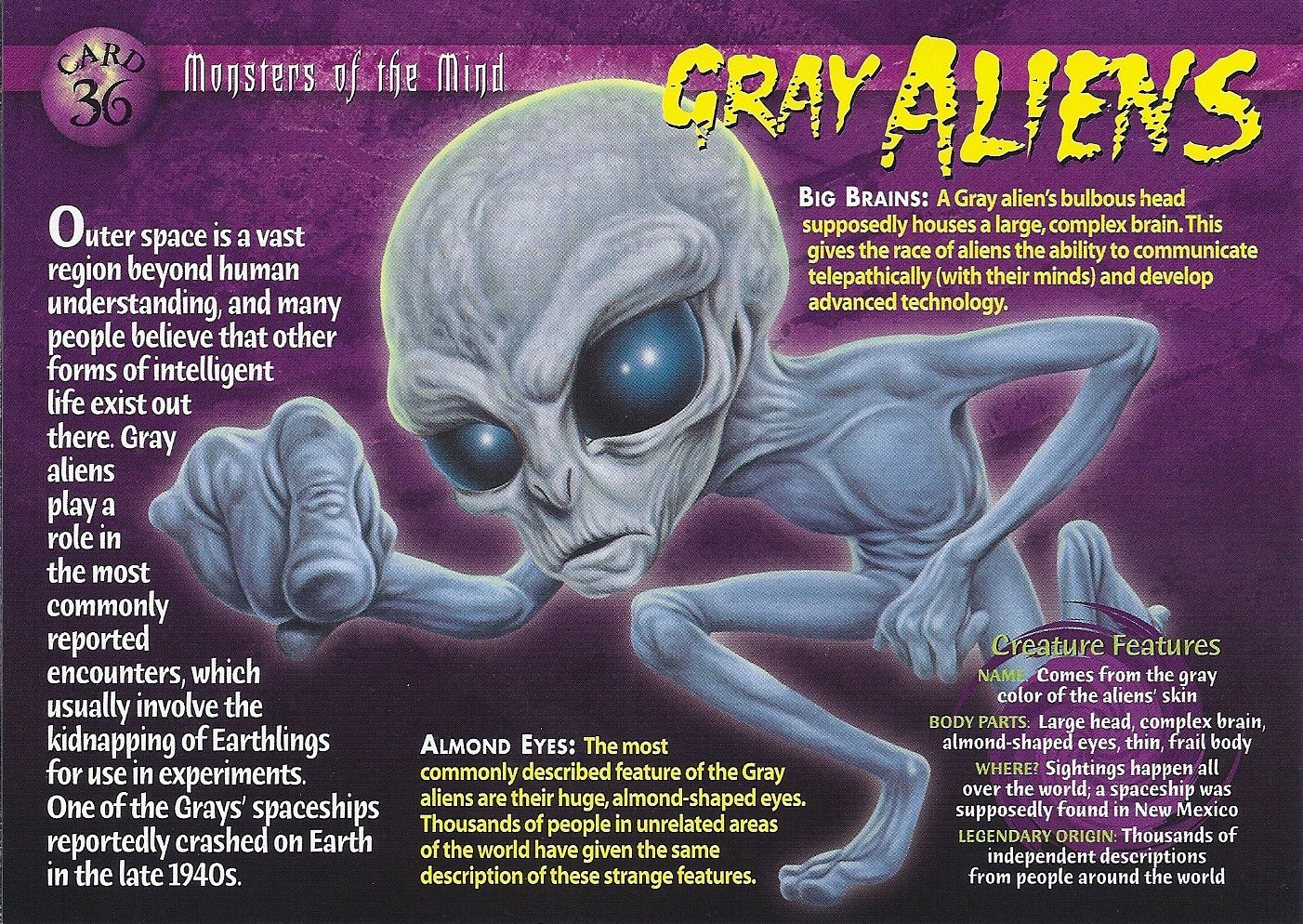 Card 36 Grey Aliens Weird And Wild Creatures