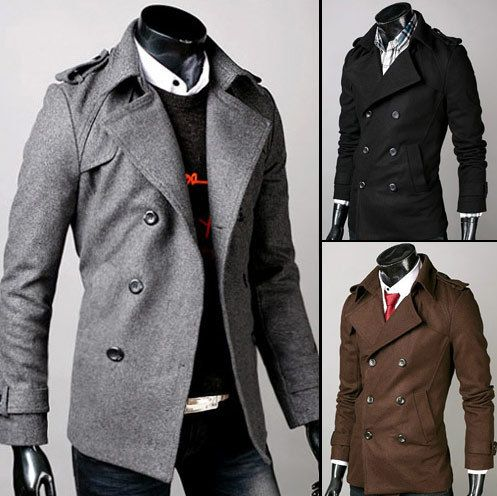 Double Breasted Mens Trench Coat Stylish Winter Pea Coats Shoulder ...