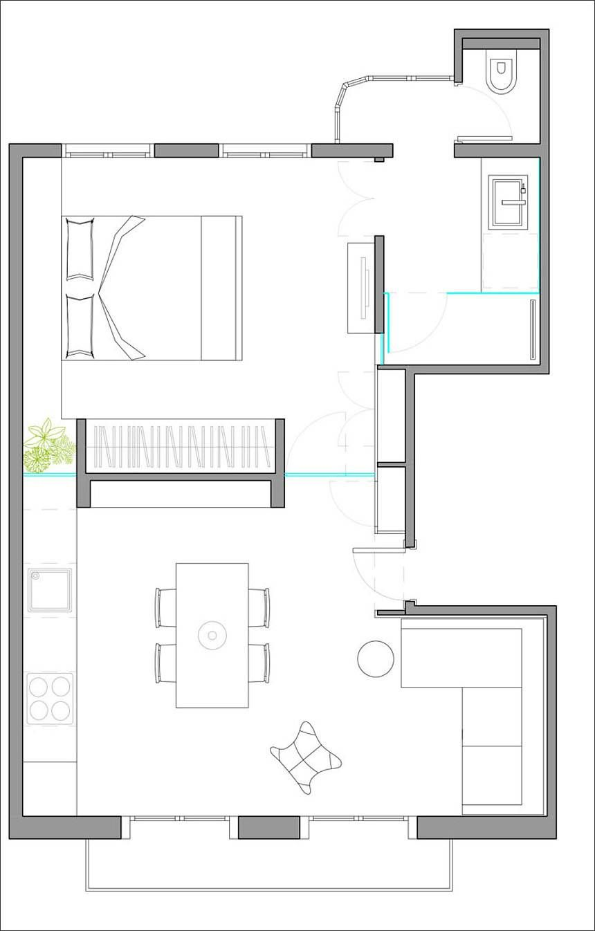 Small Apartment Redesigned Like An Urban Beach House Small Apartment Plans Apartment Redesign Apartment Layout