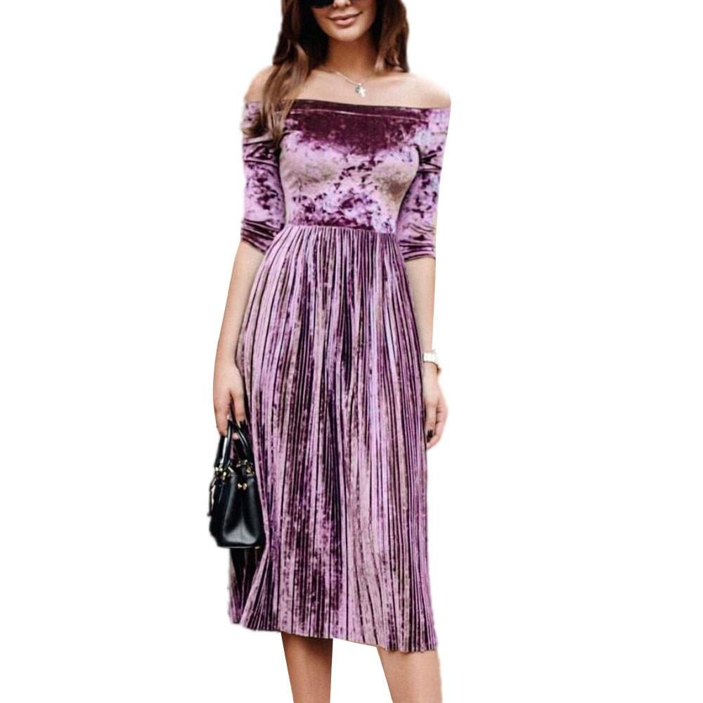022121015a43 Womens Off Shoulder Velvet Dress Ladies Evening Party Loose Dress ...
