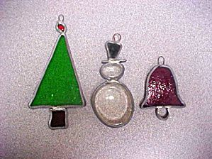 Stained Glass Christmas Ornaments - Set of  3 (Image1)