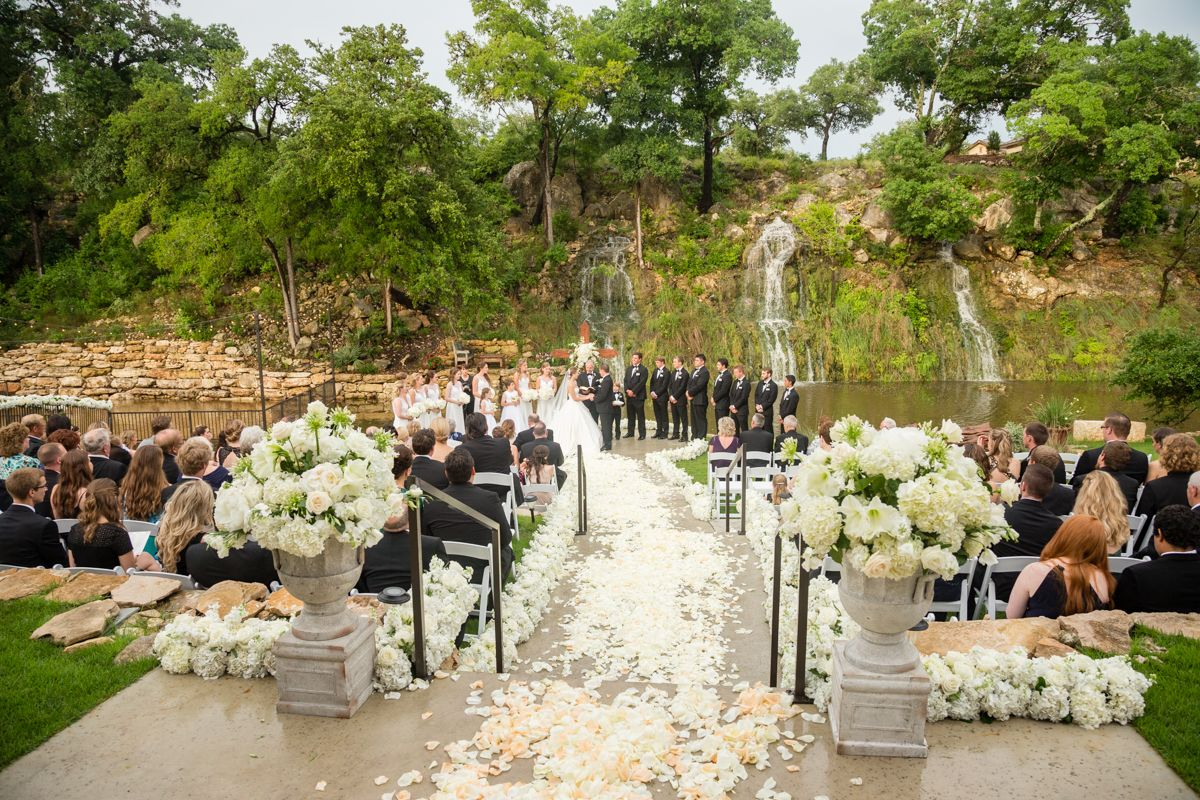 Waterfall Ceremony Hill Country Wedding Spring Branch
