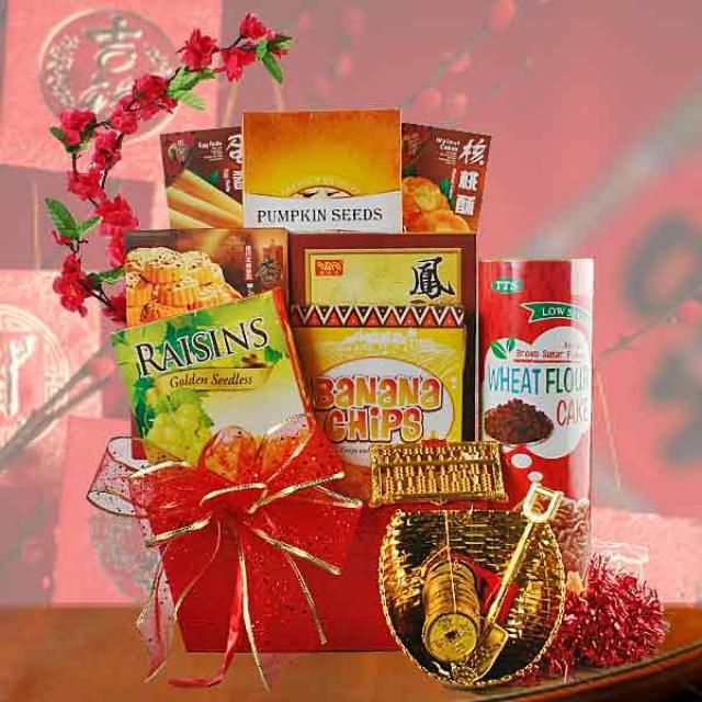 The Best Chinese New Year Gift Baskets Ideas With Red Ribbon And Flower