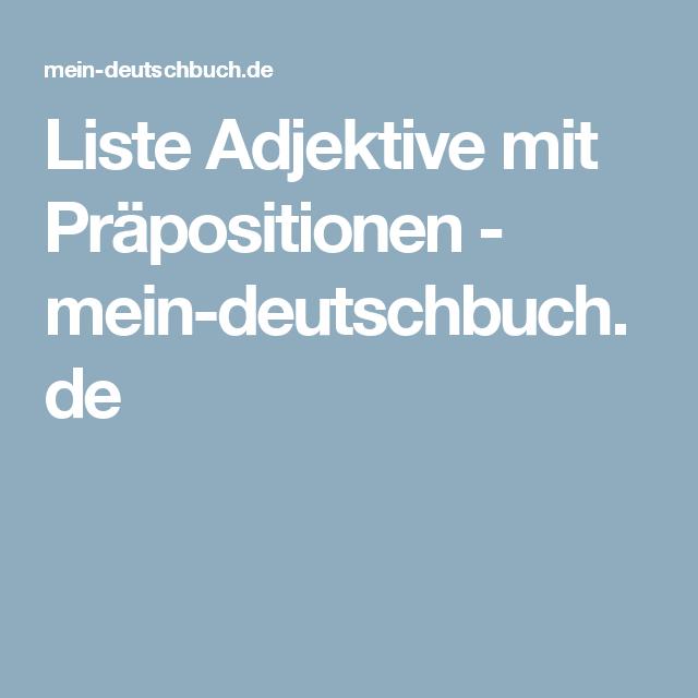 Liste Adjektive Mit Präpositionen Mein Deutschbuchde