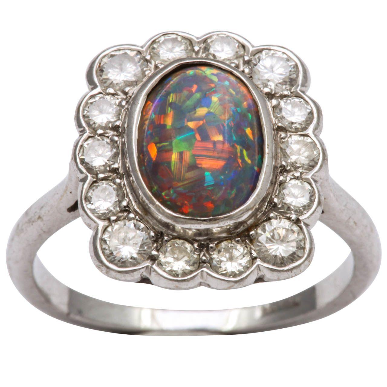 Black Opal & Diamond Ring Black opal ring, Opal diamond