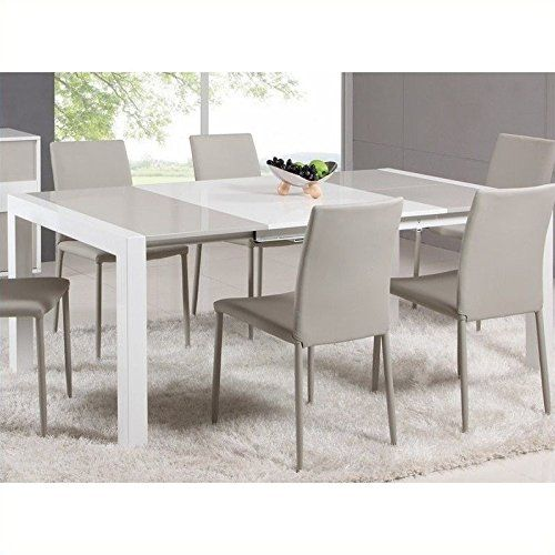Chintaly Gina Lacquer Parson Extendable Dining Table In White Grey Modern Dining Room Set Modern Dining Room Modern Kitchen Tables