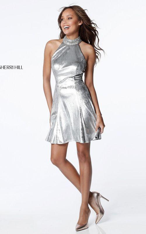 Sherri Hill 51512 Silver Short Two Piece Homecoming Dress