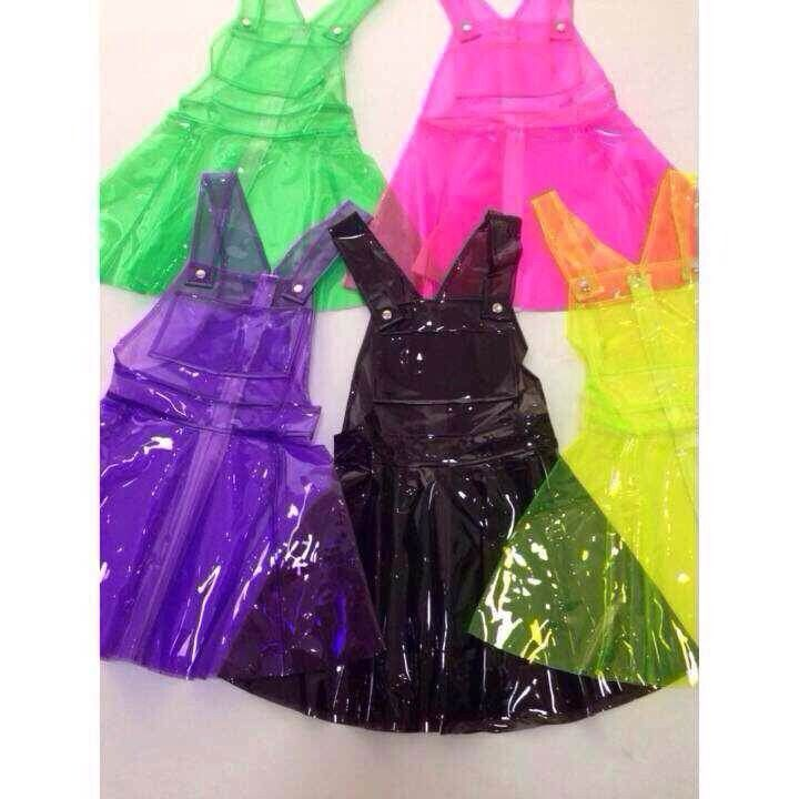 76f57c32bed92 Free Ship The stunning Bang fluorescence alien neon PVC strap large swing  dress - Thumbnail 3