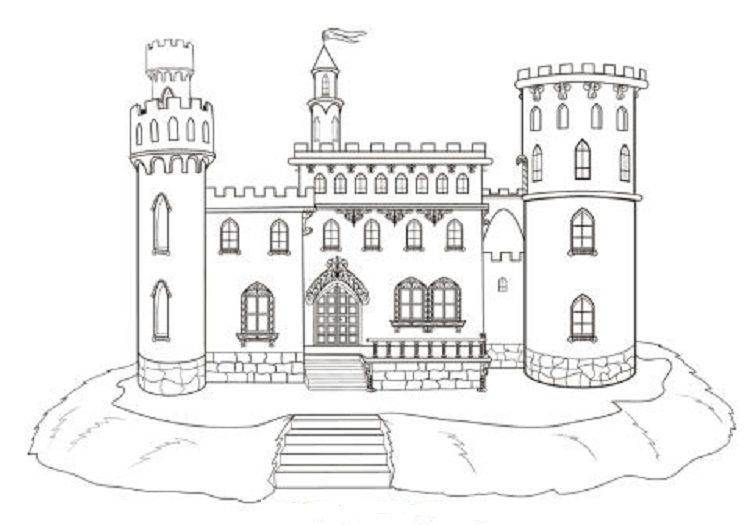 Stone Castle Coloring Pages Castle Coloring Page Castle Drawing