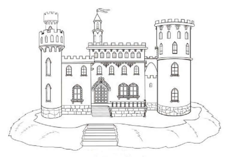 Stone Castle Coloring Pages Castle Coloring Page Castle Drawing