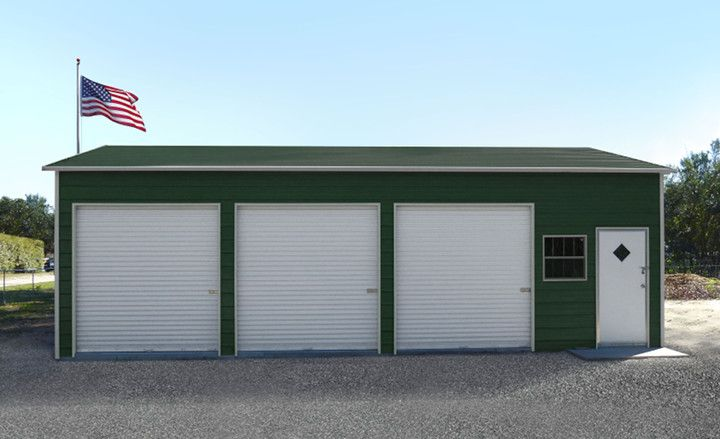 This 3-car garage steel building kit price includes three