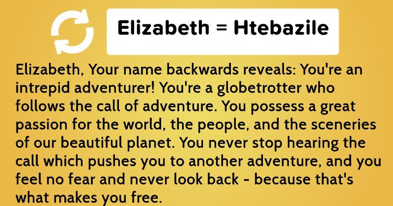 What does your name mean backwards? | Facebook quizzes
