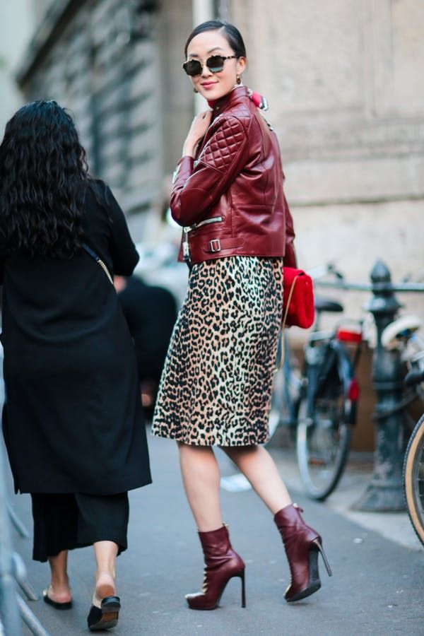 007a4a82b8 BURGUNDY JACKET + LEOPARD PRINT DRESS + BURGUNDY BOOTS. 30 Transitional  Outfit Ideas for Every Day This September  purewow  fall  fashion   shoppable  trends ...