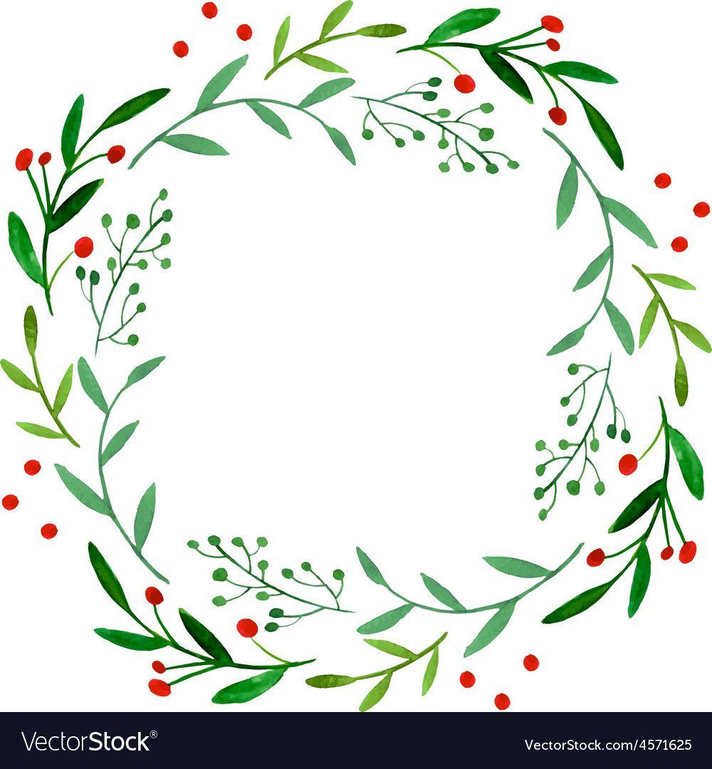 Watercolor Wreath Vector Image On Wreath Watercolor Hand Drawn