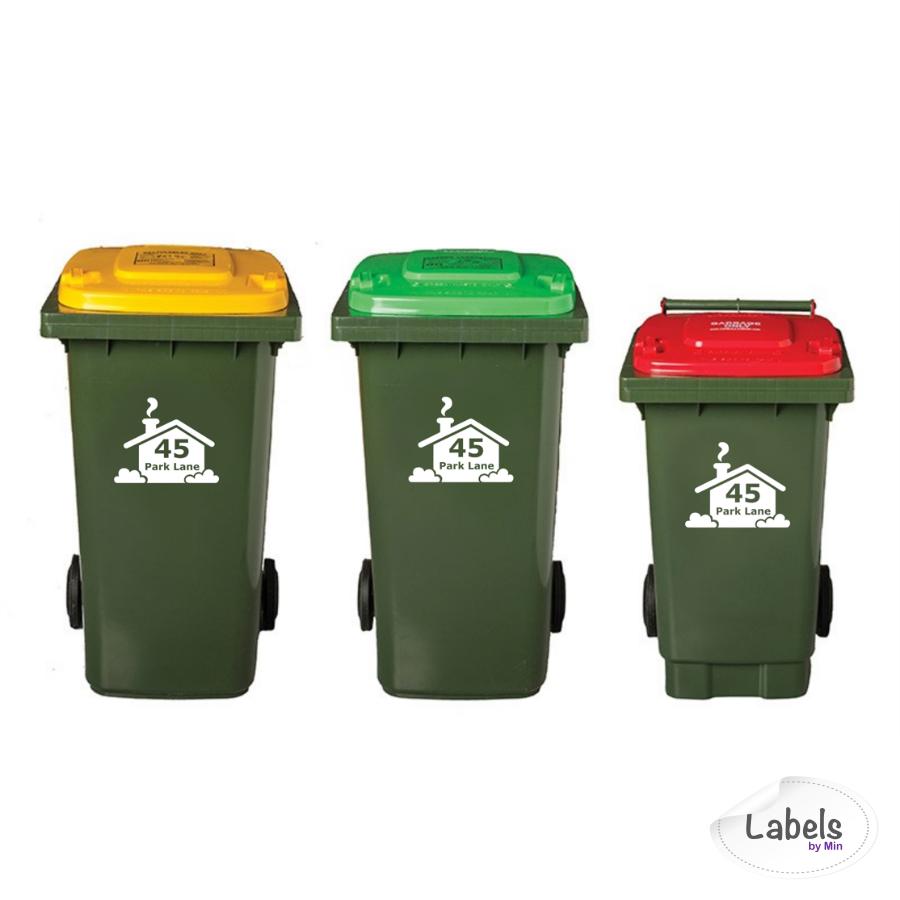 Custom Wheelie Bin Label Street Number And Name With Silhouette Garbage Bin Decal Garbage Bin Bin Labels Labels