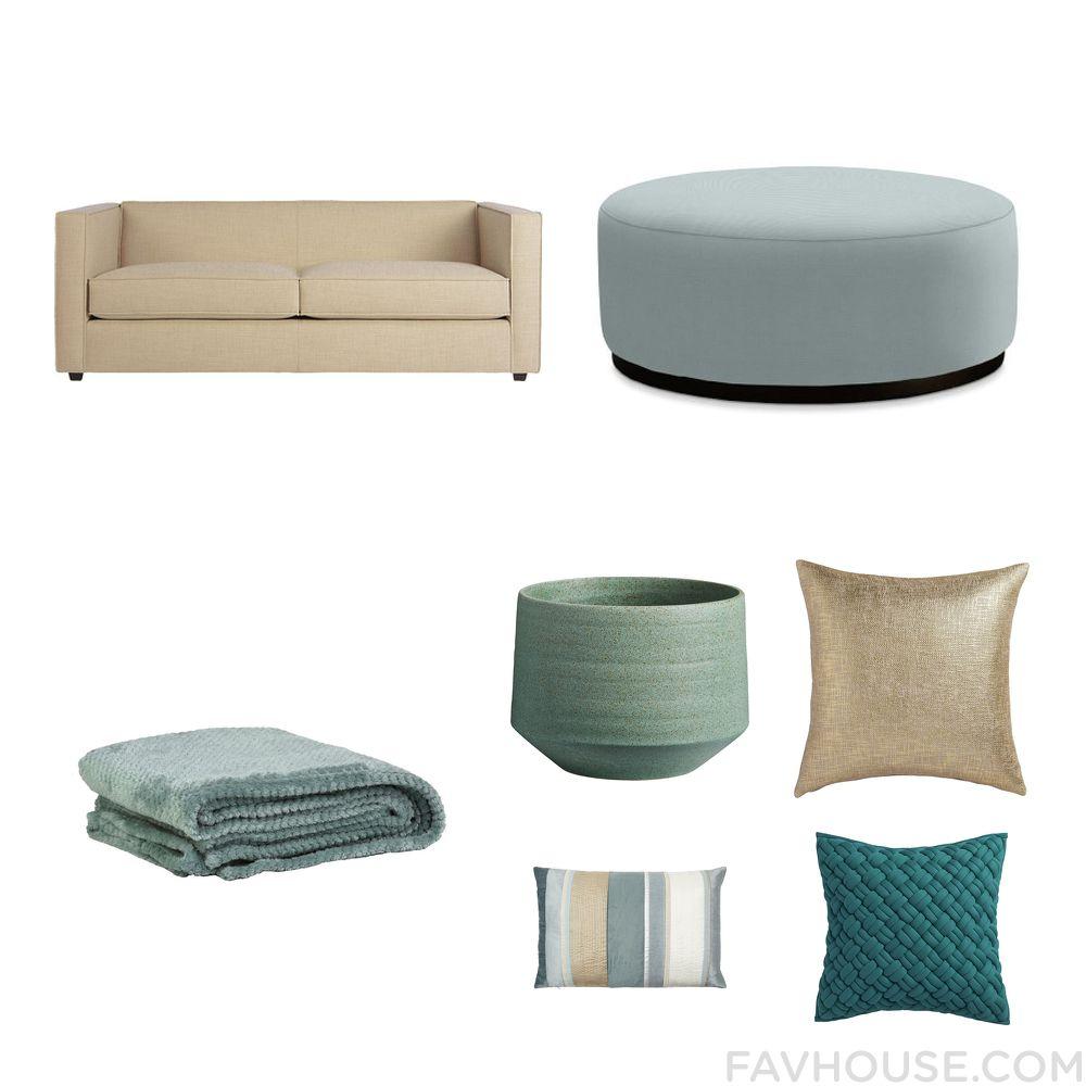 Home Decor With Cb2, Williams-Sonoma Ottoman, Blue Bedding And Cb2 Outdoor Decor