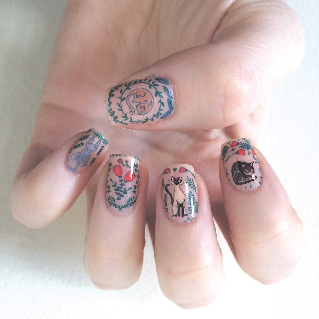 zsofiamadar - Cat nail art stamping - MoYou London Enchanted ...