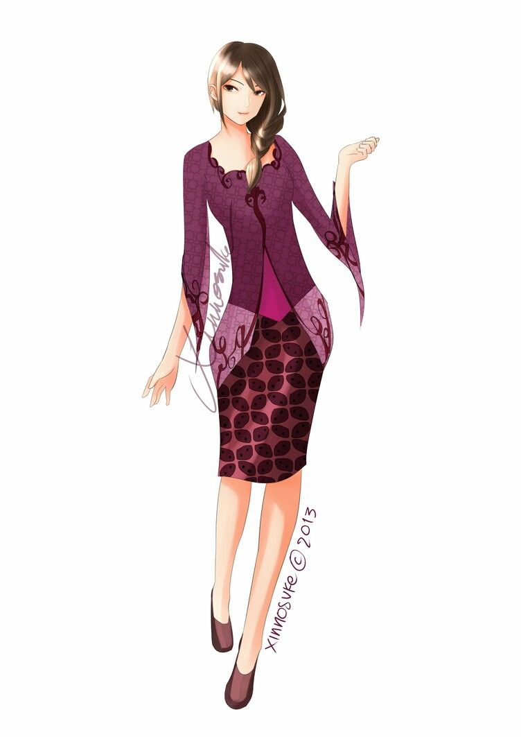 Purple Kebaya Girl Beautiful Tall Girl Black Hair Gadis Animasi Gadis Batik