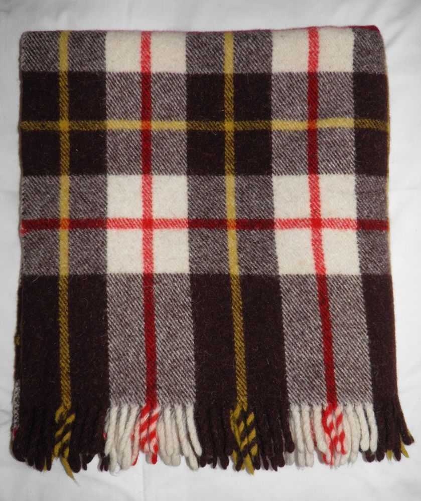 Vtg Retro Tartan Fringed Long Woollen Blanket Throw Picnic Car Travel Rug 72x35 12 10