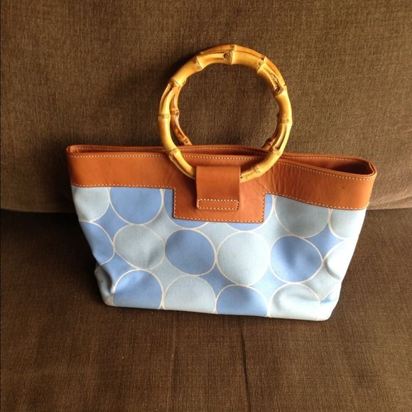 Kelle Pollock handbag Bamboo handled printed Kelle Pollock bag. Bold bright colors!!! Kelle Pollock Bags