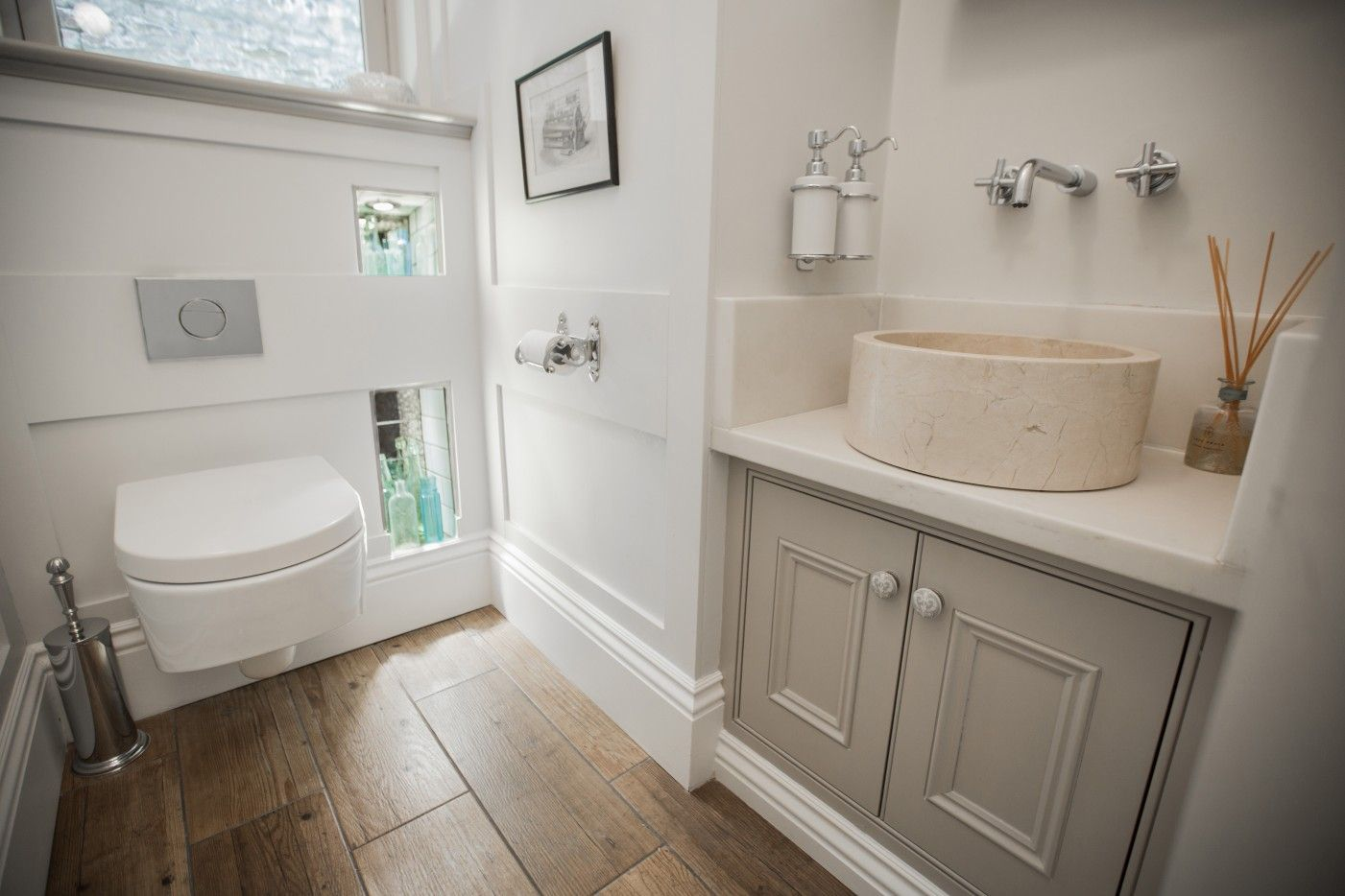 Period Bathroom Painted In Farrow And Ball Elephants Breath All White And Strong White Wooden Tile Effect Flooring And Painting Bathroom Wooden Tile Bathroom