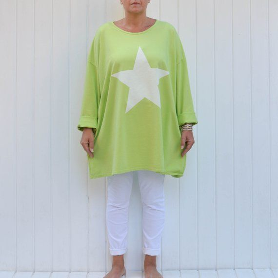 74a2e82452 Lagenlook Quirky Thick Cotton Tunic Top Star Sweatshirt