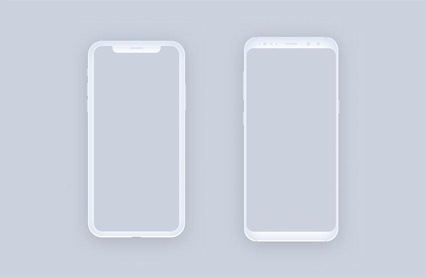 Clean And Minimal Mockups Figma Iphone X Samsung S8 Freebiesui Figma Iphone Mockup Texture Graphic Design