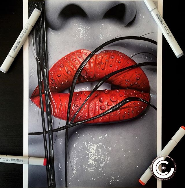 Colour Splash Lips.  Drawn on A3 Bristol Smooth with Copic Airbrush & Markers, Polychromo pencils and white ink.  The original is still available if you are interested please DM me  Prints also available in 2 sizes on my website now!  #art #artist #drawing #lipdrawing #lips #realistic #realism #beauty #lipstick #redlips #photorealism #copic #copicmarkers #polychromos #fabercastell