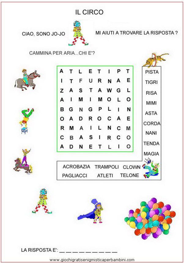 Circojojo g enigmistica per bambini e ragazzi giochi for Rebus facili da stampare