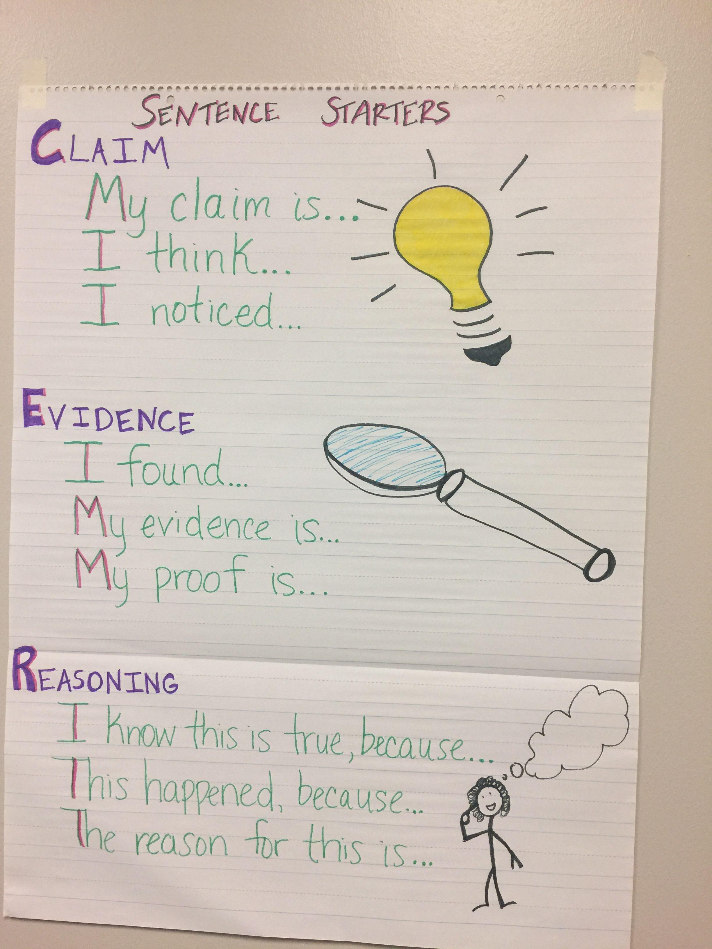 Claim Evidence Reasoning Sentence Stems