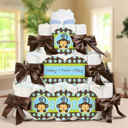 Another possible baby shower theme i love that my name is so mommy silhouette its a boy 3 tier personalized square baby shower diaper cake negle Images