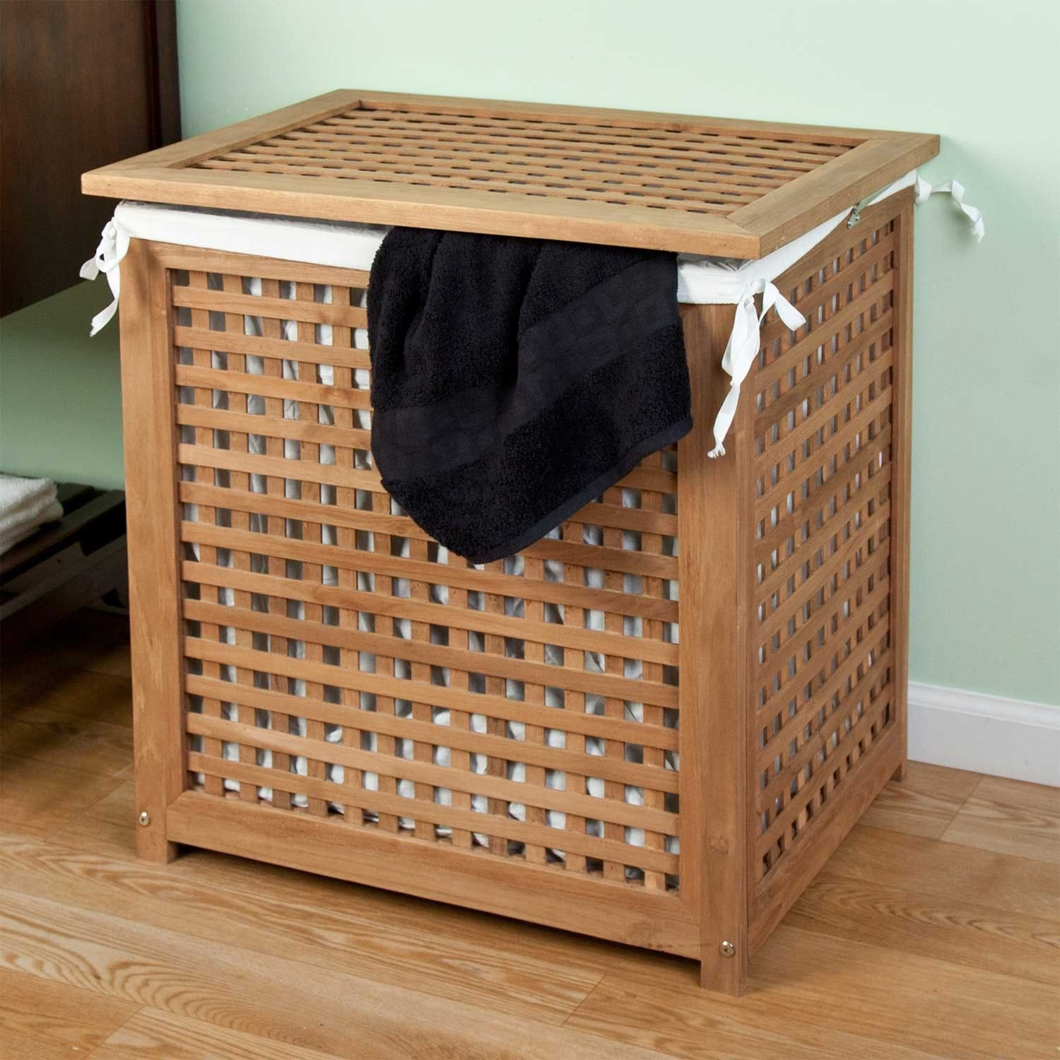 Teak Laundry Hamper With Lid Storage Wood Laundry Hamper