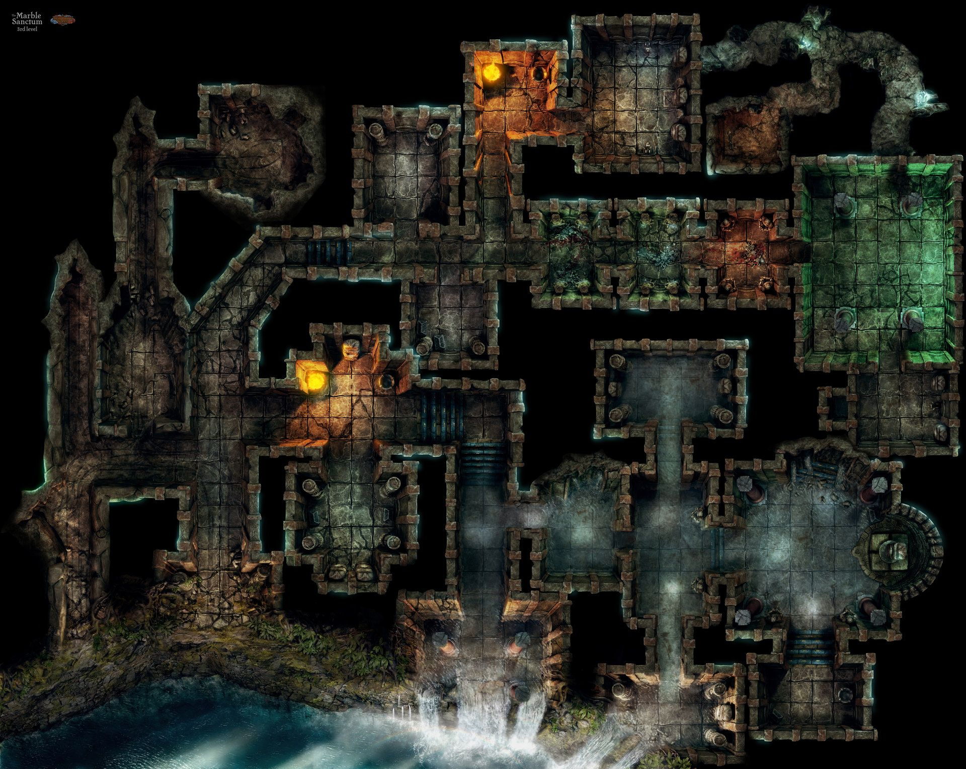 This 3D rendered map has made for a printable Tabletop RPG story ...