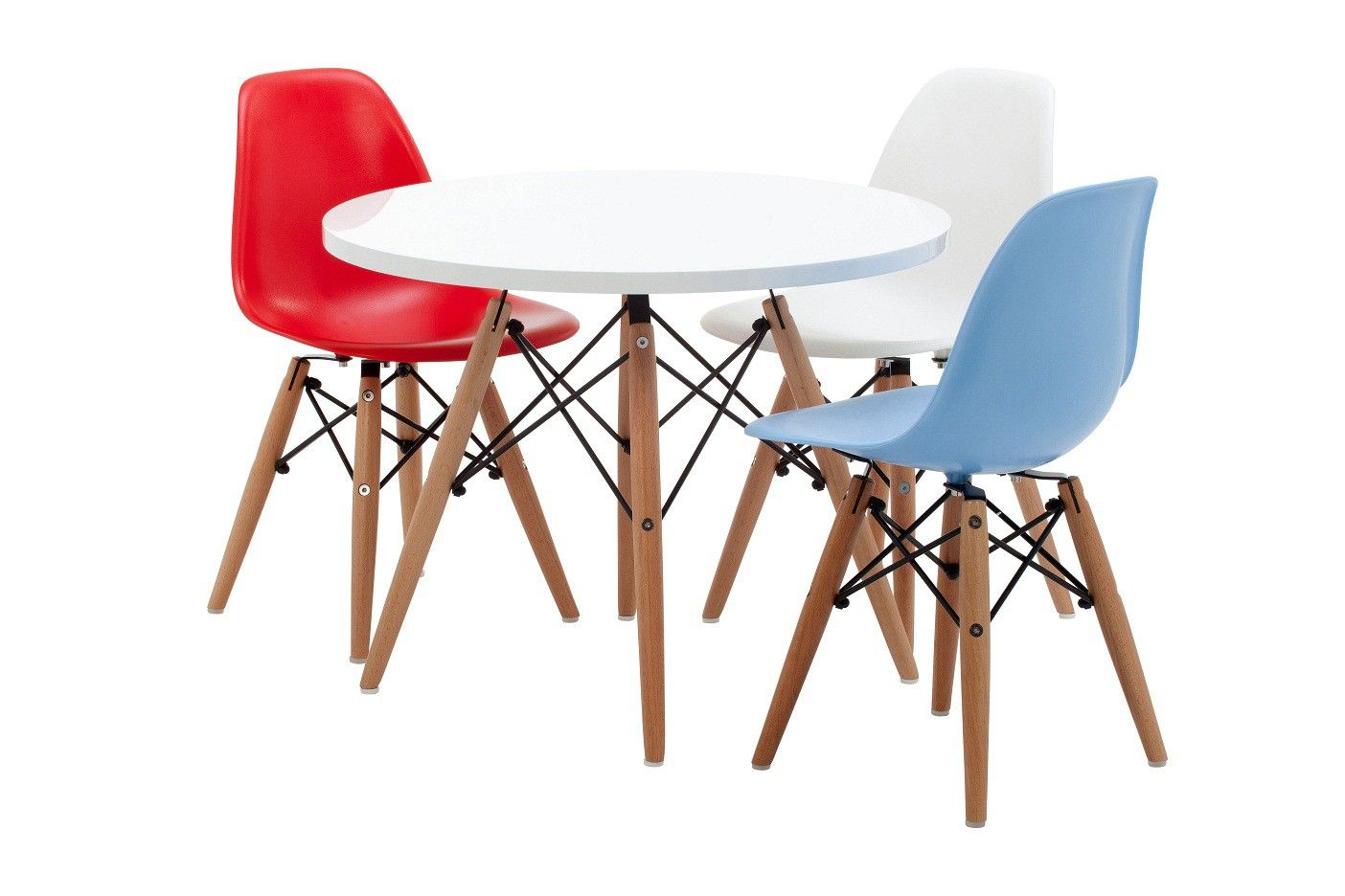 Eames Elephant Replica Kidz Zone Furniture. White Table With 4 Coloured Chairs