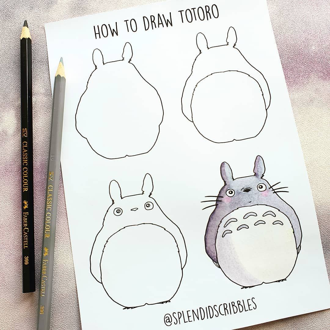 Splendid Scribbles On Instagram Do You Like Japanese Animation What S Your Favourite To Watch Colour Totoro Drawing Totoro Art Cute Easy Drawings