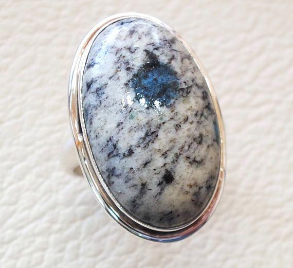 3437b47dc6978 K2 Jasper natural unique stone ring sterling silver 925 multi ...