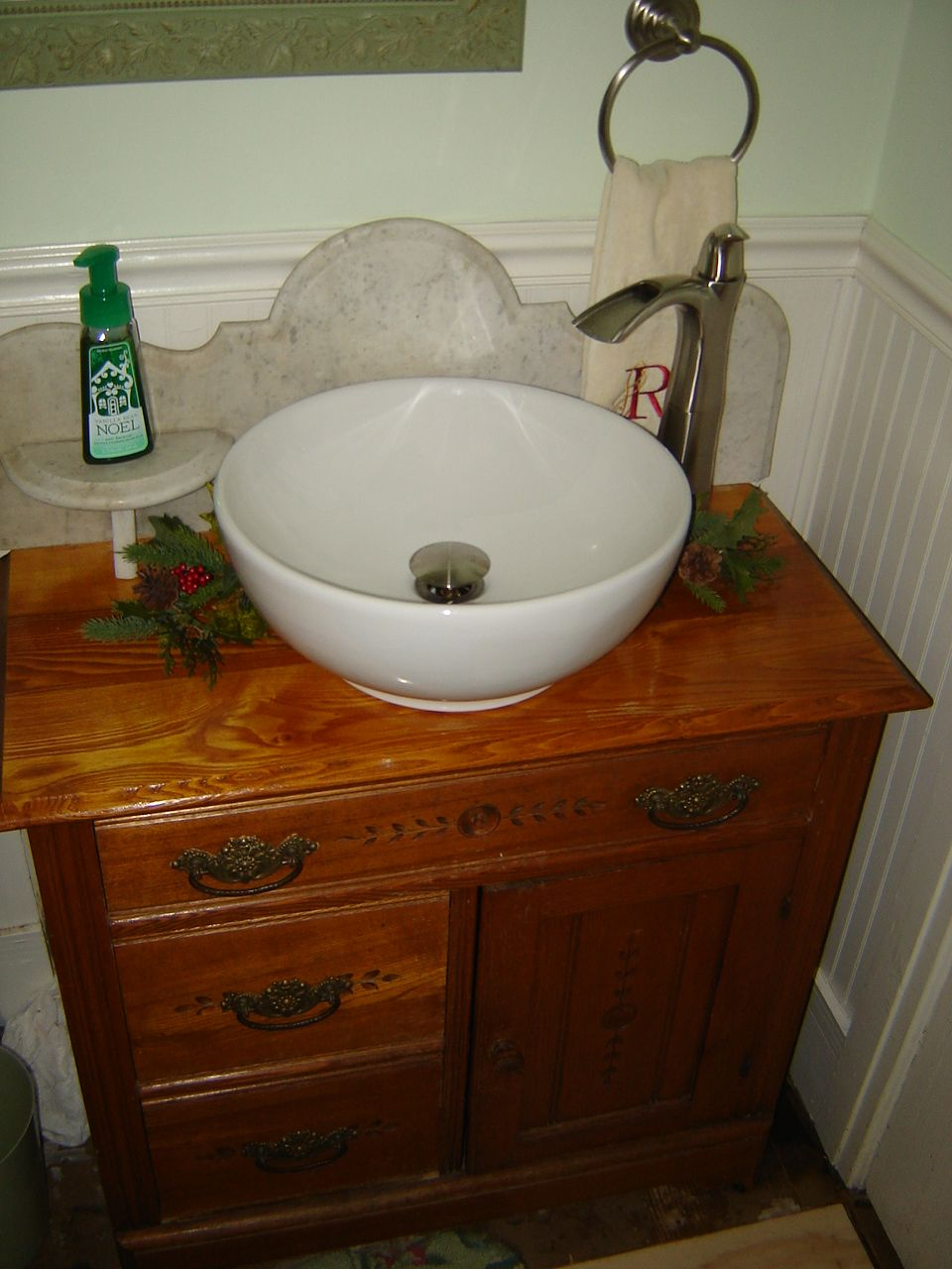 This Is The Antique Washstand We Turned Into A Vanity. The Vessel Sink Was  From Loweu0027s. The Antique Washstand Was Found In A Barn Down The Street From  My ...
