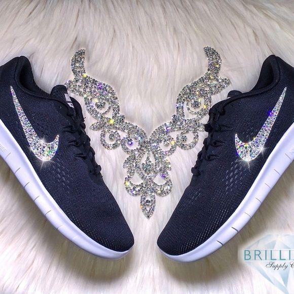 Swarovski Nike Free RN Shoes Black White